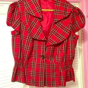 Ashley Stewart 16W cap sleeve red plaid jacket